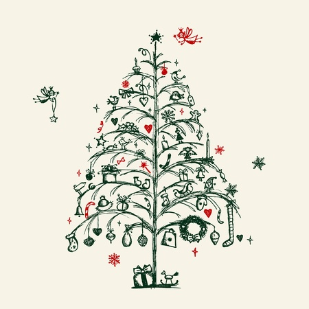 tree toys: Christmas tree sketch for your design