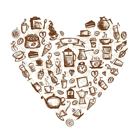 break time: Coffee time, heart shape for your design  Illustration