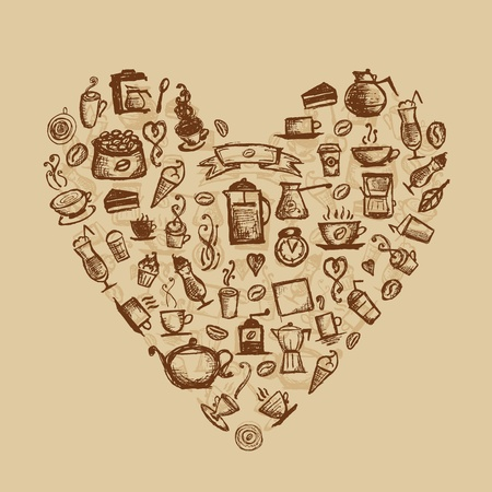 Coffee time, heart shape for your design Stock Vector - 11476194