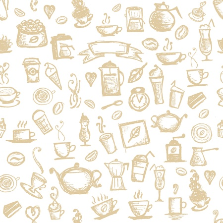 Coffee time, seamless background for your design  Stock Vector - 11476198