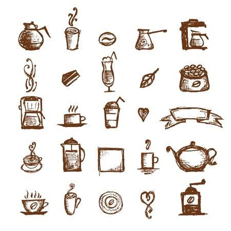 chicchi di caff�: Caff� disegno, elementi di design
