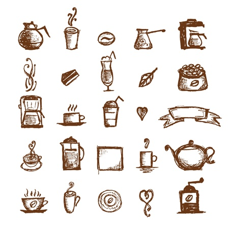 Coffee sketch, design elements Vector