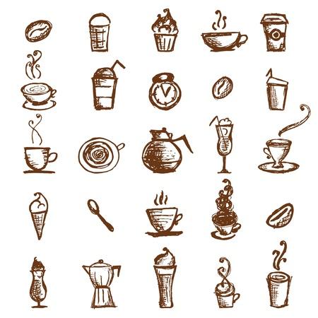 koffiebaal: Koffie schets, ontwerp-elementen Stock Illustratie