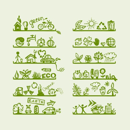 ciclo del agua: Estantes con iconos de la ecolog�a para el dise�o de yuor