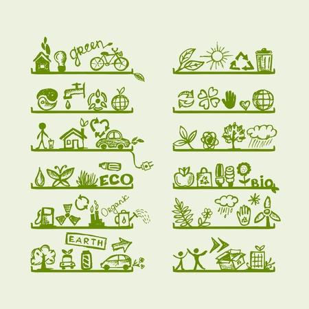 �cologie: Etag�res avec des ic�nes pour la conception de l'�cologie yuor Illustration