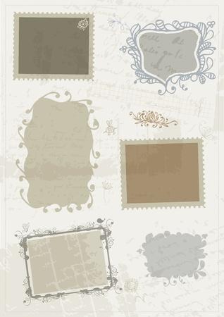 Sketch de los marcos, dibujo a mano para el diseño de su Ilustración de vector
