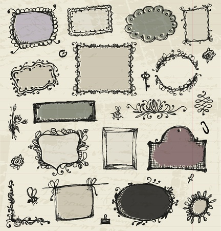 doodle frame: Sketch of frames, hand drawing for your design Illustration