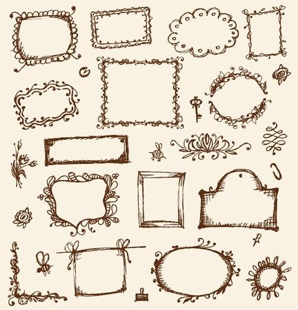 antique frames: Sketch de los marcos, dibujo a mano para el dise�o de su
