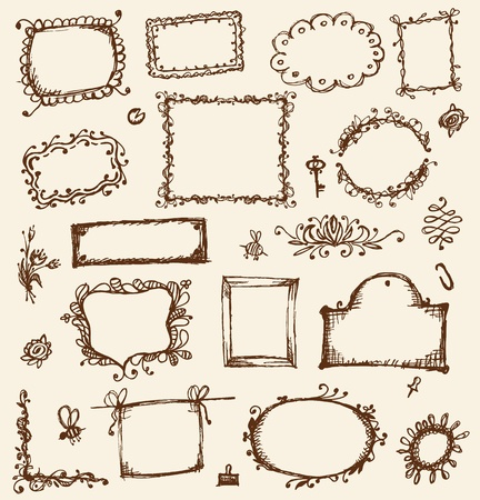 vintage document: Sketch of frames, hand drawing for your design Illustration