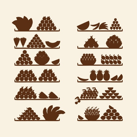 Shelves with fruits for your design Stock Vector - 11476191