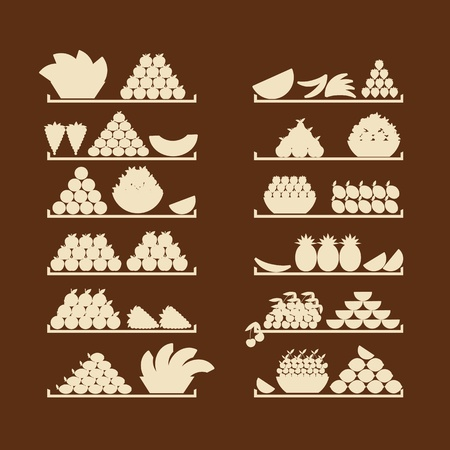 food market: Shelves with fruits for your design