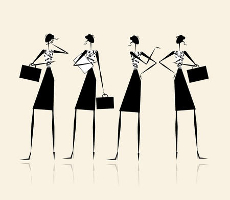 business women: Business ladies, silhouette for your design