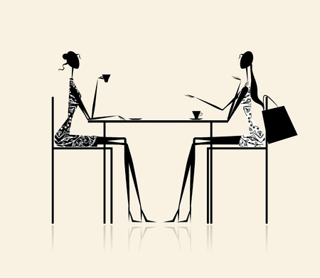 Fashion girls in cafe, illustration for your design Ilustração