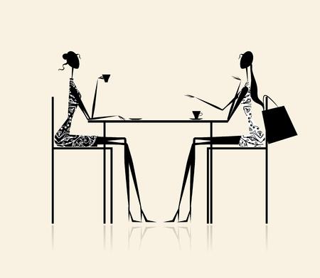 Fashion girls in cafe, illustration for your design Vector