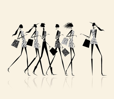 fashion sketch: Fashion girls with shopping bags, illustration for your design
