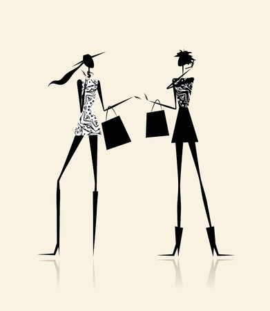 Fashion girls with shopping bags, illustration for your design Vector