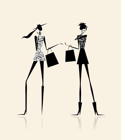 Fashion meisjes met boodschappentassen, illustratie voor uw ontwerp