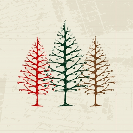 Sketch of christmas pines on sheet for your design Vector