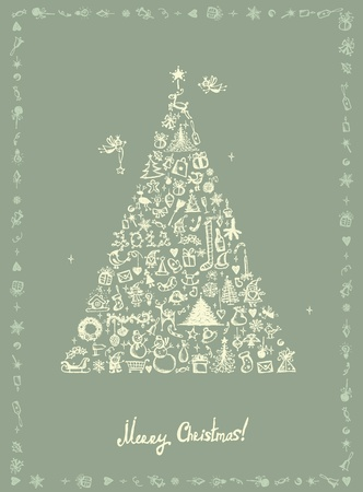 deer in heart: Christmas card, sketch drawing for your design