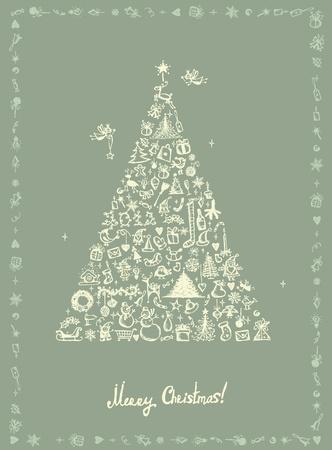 kerstmuts: Kerst kaart, schets tekening voor uw ontwerp Stock Illustratie