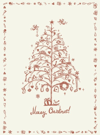 Christmas card, sketch drawing for your design Stock Vector - 11476264