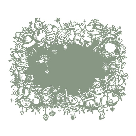 christmas wreaths: Christmas frame, sketch drawing for your design  Illustration