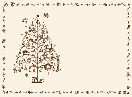 christmas wreaths: Christmas card, sketch drawing for your design