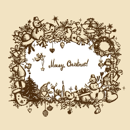 Christmas frame, sketch drawing for your design Stock Vector - 11476265