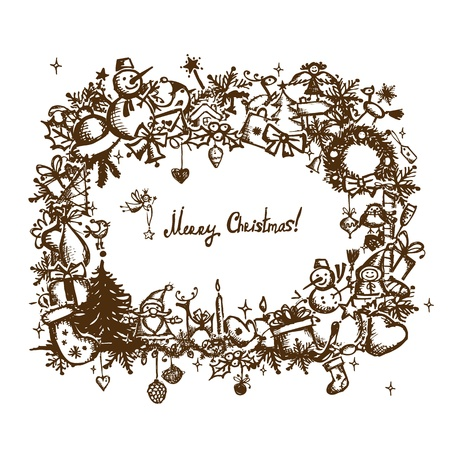 Christmas frame, sketch drawing for your design  Stock Vector - 11476243