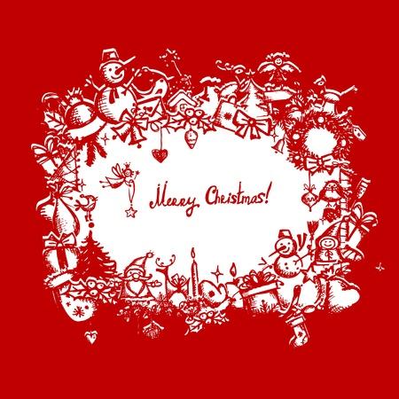 coronas de navidad: Marco de la Navidad, dibujo boceto de su diseño