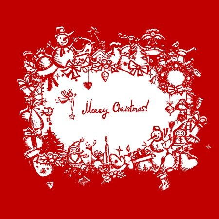 coronas navidenas: Marco de la Navidad, dibujo boceto de su dise�o
