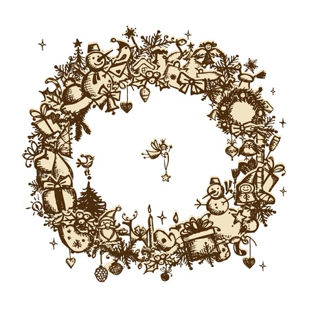Christmas frame, sketch drawing for your design  Stock Vector - 11476242