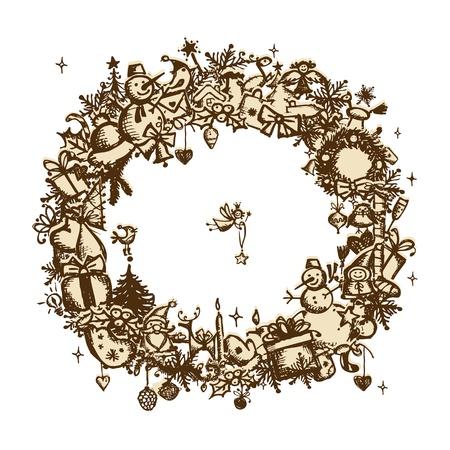 deer in heart: Christmas frame, sketch drawing for your design  Illustration