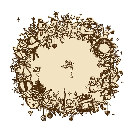 Christmas frame, sketch drawing for your design Stock Vector - 11476245