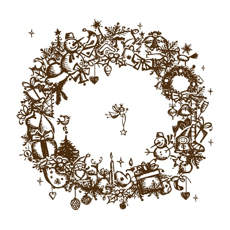 Christmas frame, sketch drawing for your design  Vector