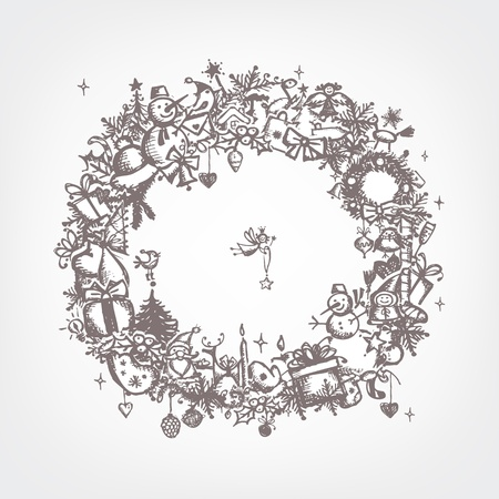 hand bell: Christmas frame, sketch drawing for your design  Illustration