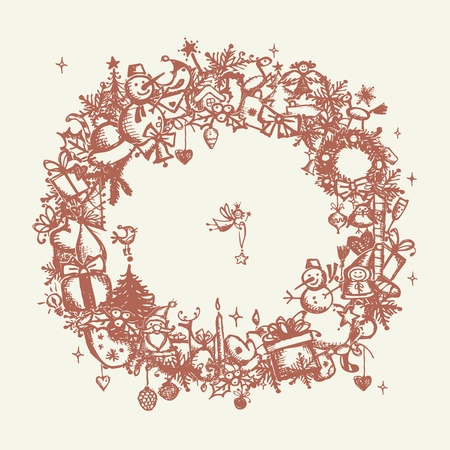 pine wreaths: Christmas frame, sketch drawing for your design  Illustration
