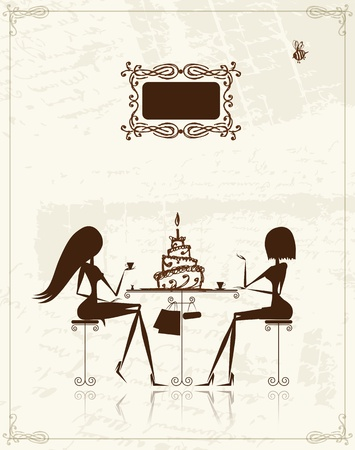 Fashion girls in cafe, illustration for your design  Vector
