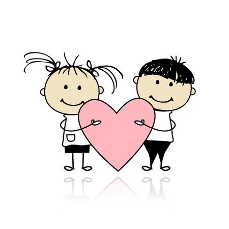 mujer enamorada: Valentine día. Los niños con gran corazón rojo para su diseño