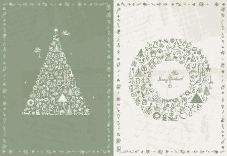 oiseau dessin: Carte de Noël rétro pour votre design Illustration