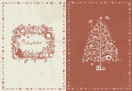 Christmas card retro for your design Vector