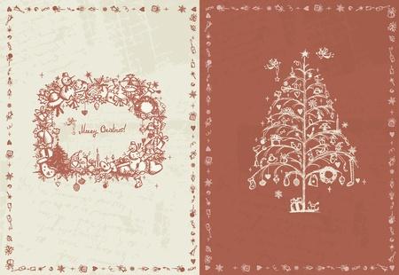coronas navidenas: Tarjeta de Navidad retro para su dise�o