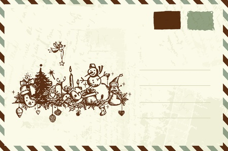 postal office: Envelope with christmas sketch and place for your text
