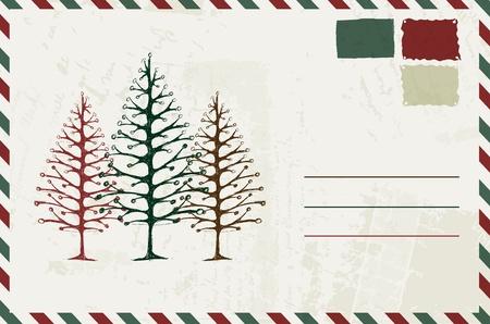 Enveloppe avec le croquis de noël et le lieu de votre texte Vecteurs