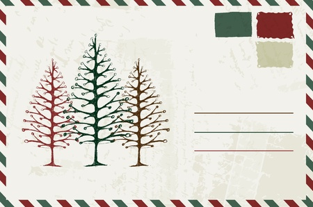 enveloppe ancienne: Enveloppe avec le croquis de no�l et le lieu de votre texte Illustration