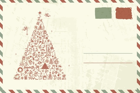 old envelope: Envelope with christmas sketch and place for your text