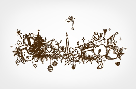 Christmas frame, sketch drawing for your design Stock Vector - 12015183