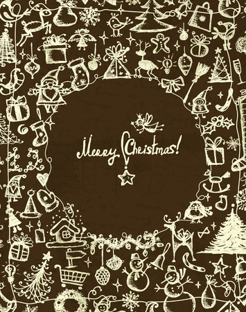 christmas bell: Christmas frame, sketch drawing for your design  Illustration