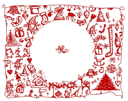 wreaths: Christmas frame, sketch drawing for your design  Illustration