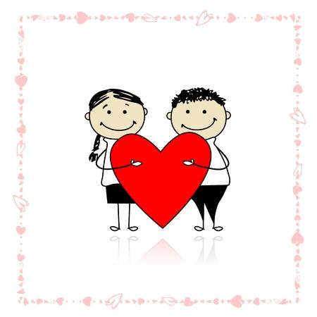 Valentine dag. Paar met groot rood hart voor uw ontwerp